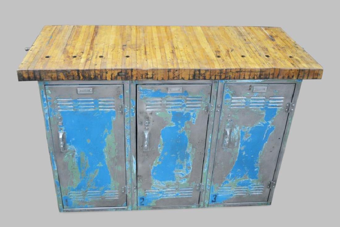 "Industrial Locker Work Island 33""H,   54""L,   22 1/2""W"