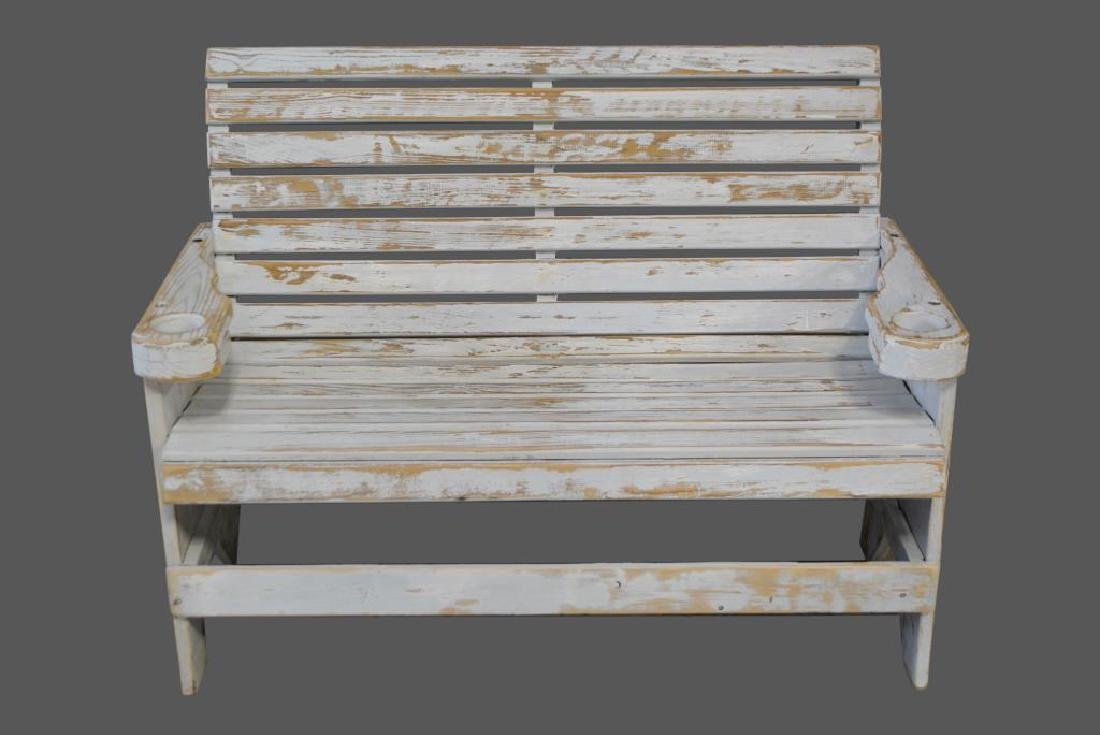 """Painted Bench 38 1/2""""H,   50 1/2""""L,   28 1/4""""W"""
