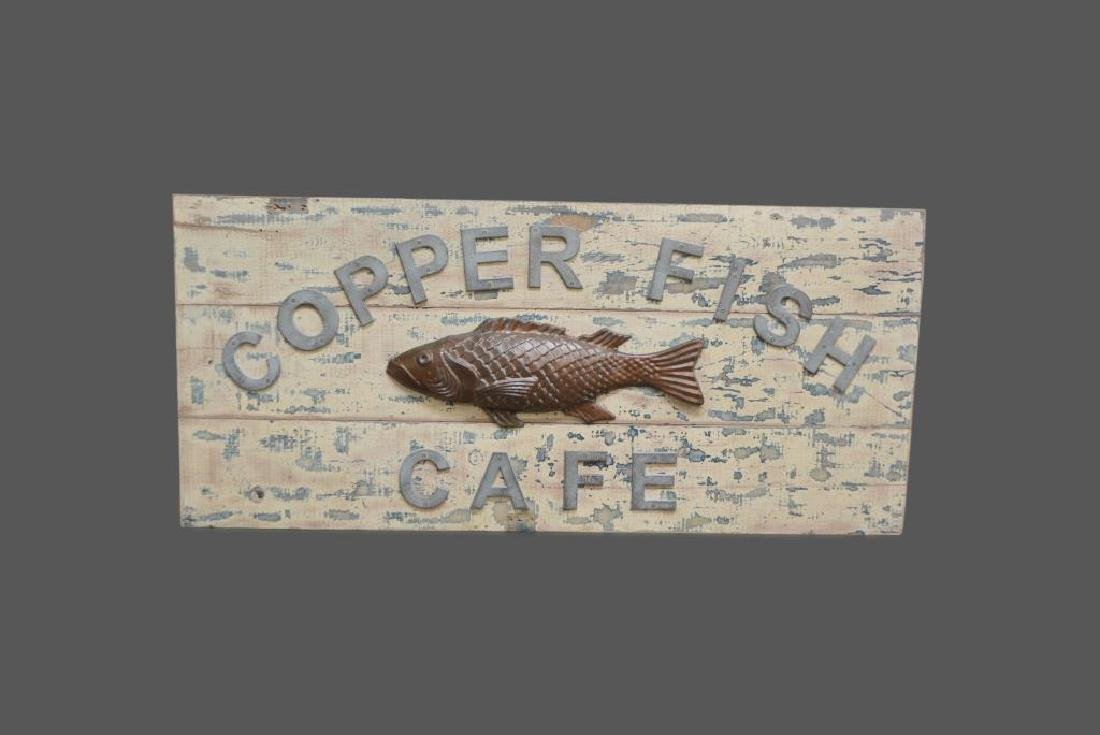 "Copper Fish Cafe Sign 27 1/4""  x   59 3/4"""