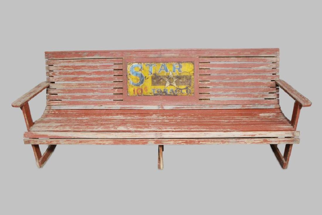 """Advertising Country Store Bench 33""""H,   88 1/2""""L,"""