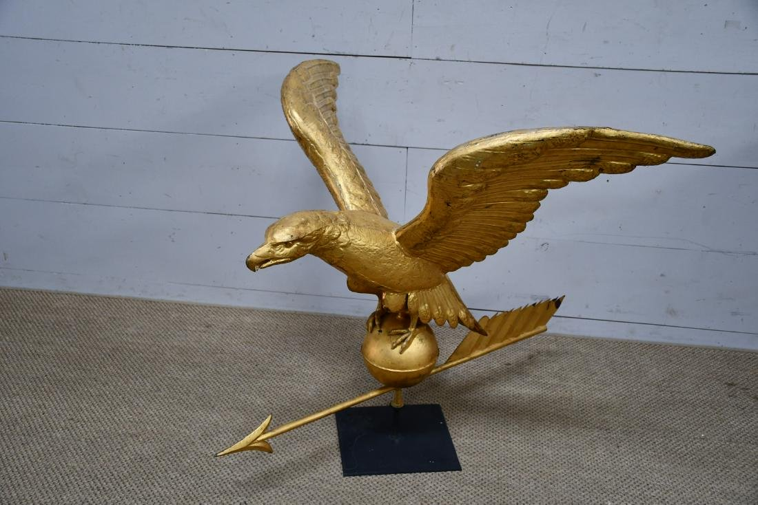 Late 19th Cen. Copper Gilded Eagle Weathervane from