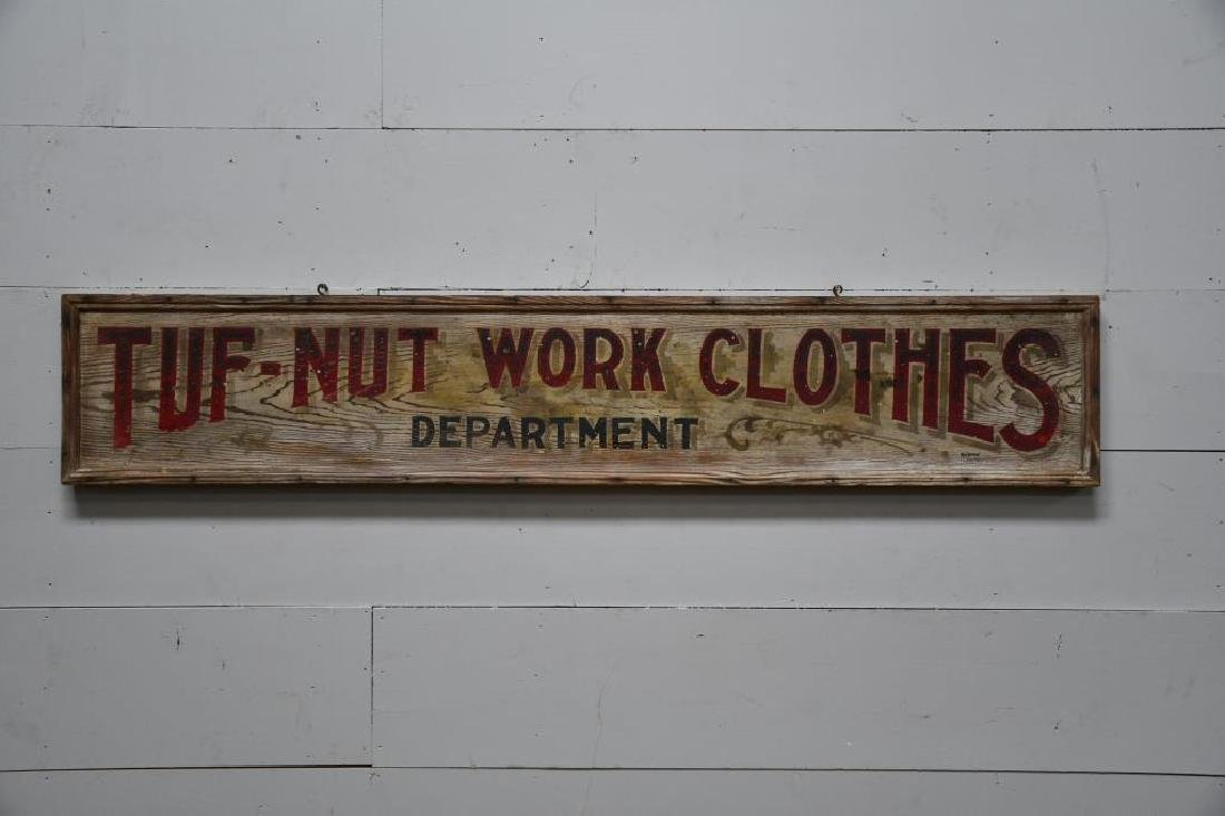 """Wooden Trade Sign """"Tuf-Nut Work Clothes"""" Late 19th"""