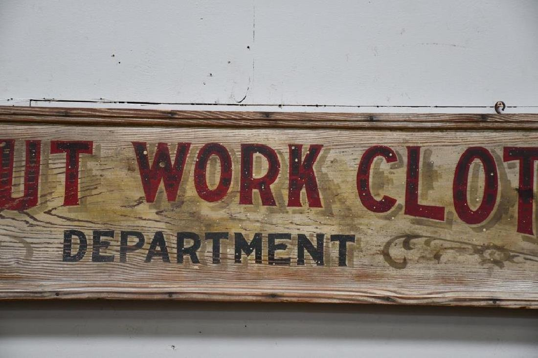 """Wooden Trade Sign """"Tuf-Nut Work Clothes"""" Late 19th - 3"""