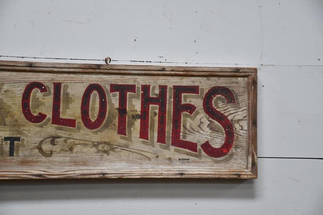 """Wooden Trade Sign """"Tuf-Nut Work Clothes"""" Late 19th - 4"""