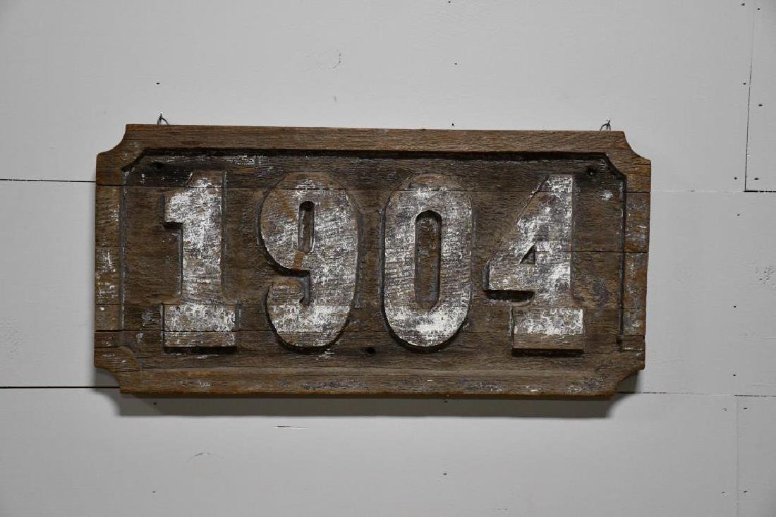 "Early Weathered Wooden Trade Sign ""1904"" *from"