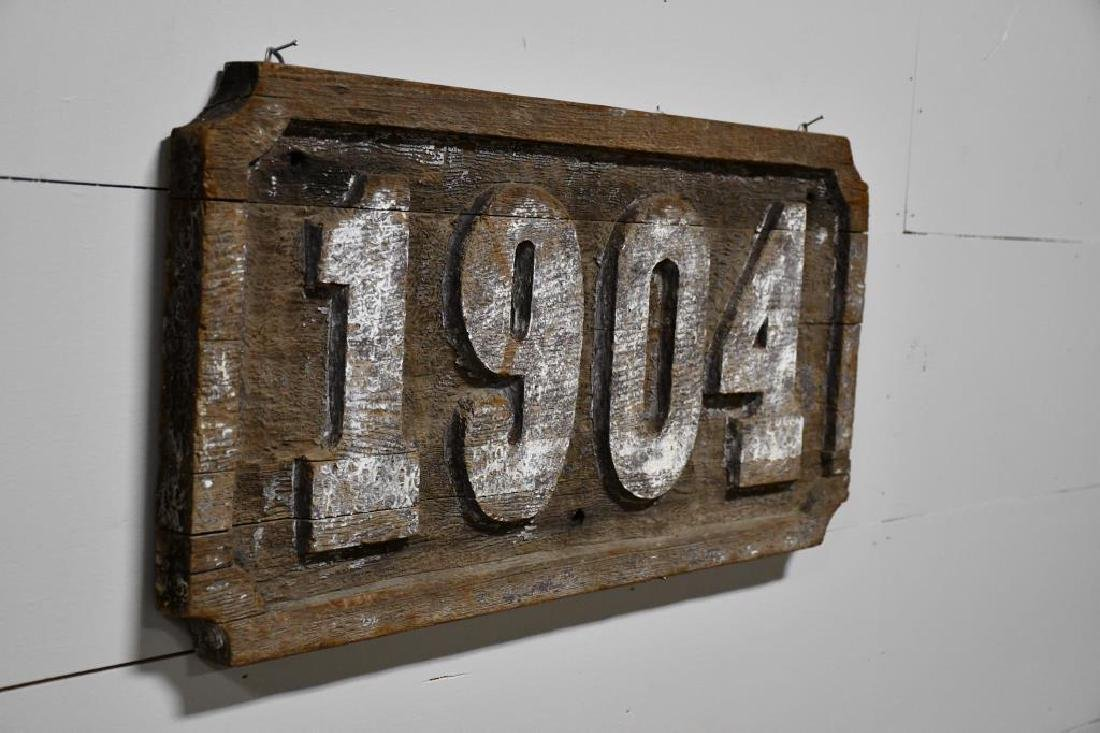 "Early Weathered Wooden Trade Sign ""1904"" *from - 2"