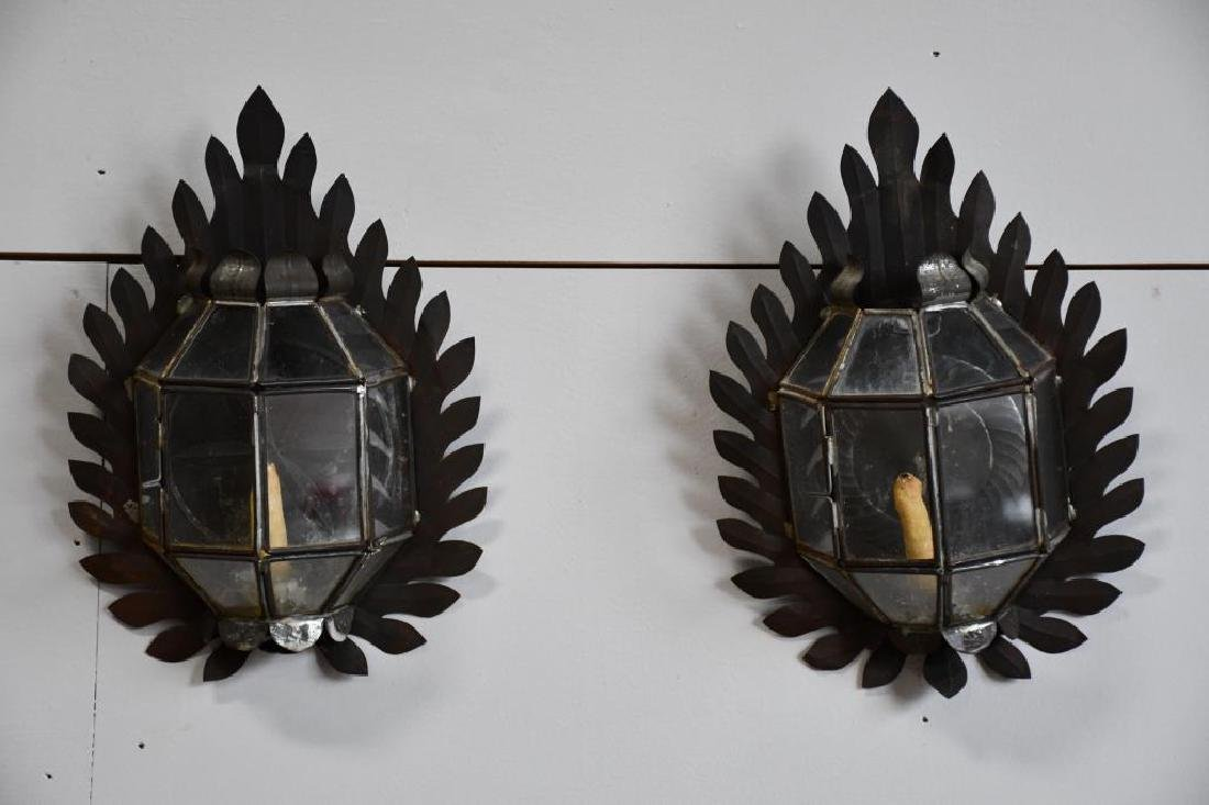 Pair of Late 19th Cen. Pa. Tin ware Candle Sconces