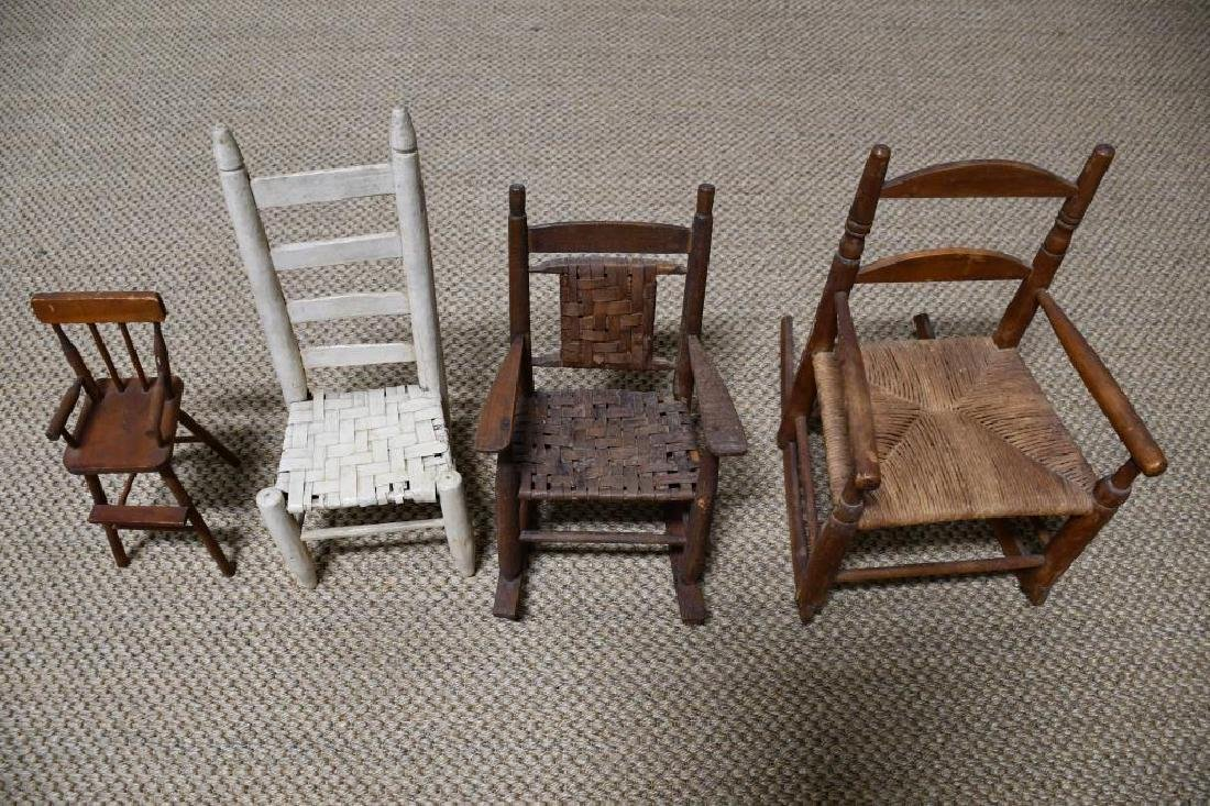 4-Piece Lot: 2 Doll Chairs & 2 Doll Rockers *from