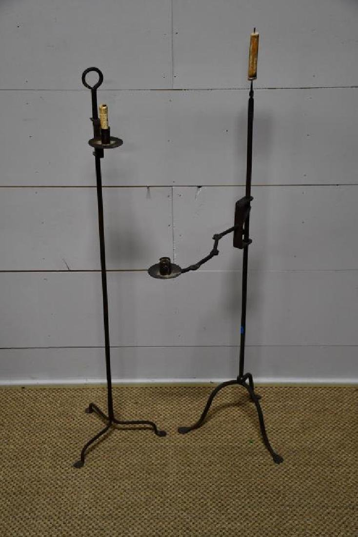 2-Piece Early Wrought Iron Candle Stand Lot *from