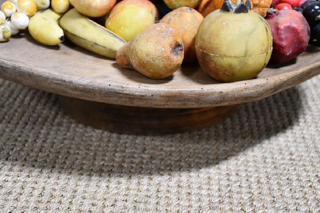 19th C. Wooden Compote w/ Group Lot of Stone Fruit - 2