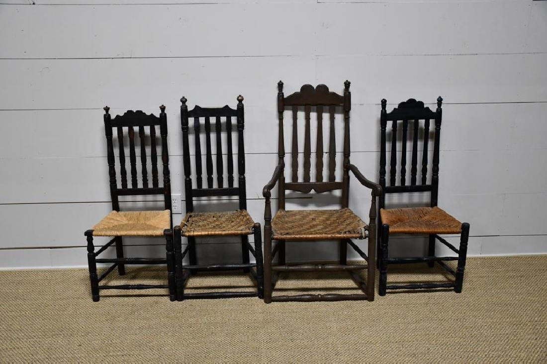 4-Piece Early Bannister Back Chair Lot *from Harriette