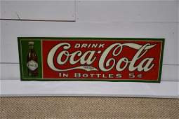 Early 1900's Metal Coca-Cola Advertising Sign Rare Sign