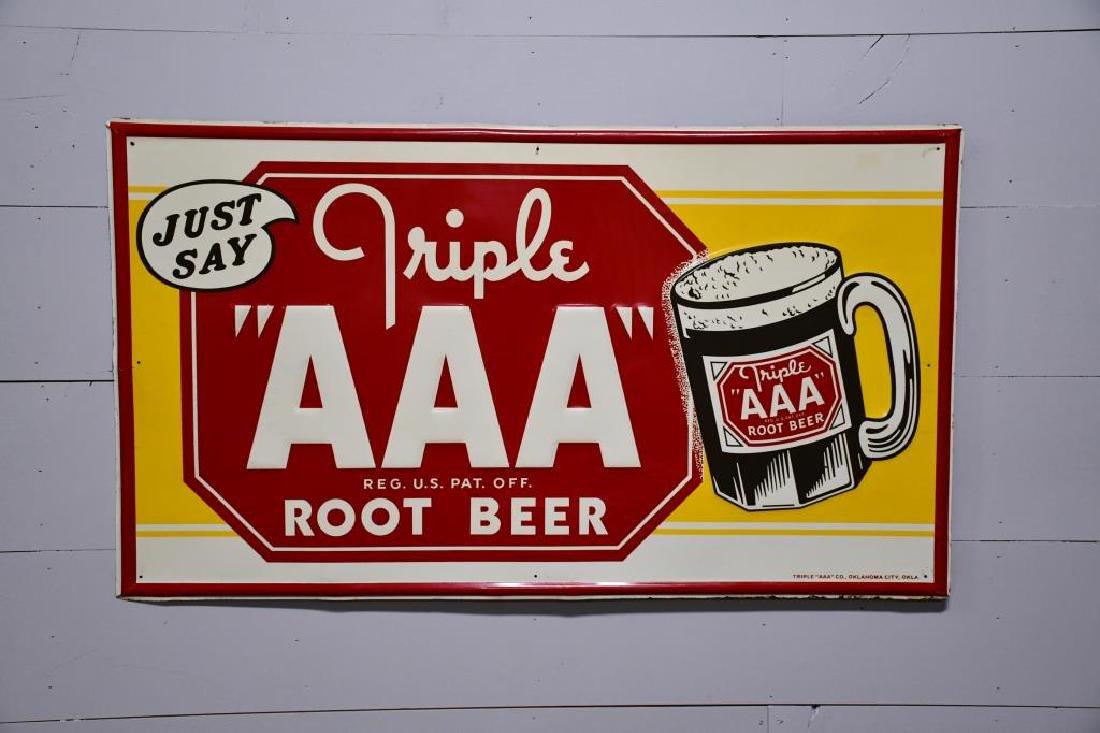 "Metal Triple AAA Root beer Sign 32""  x   56"""