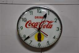 Lighted Advertising Coca-Cola Clock *Works* 14 3/4""