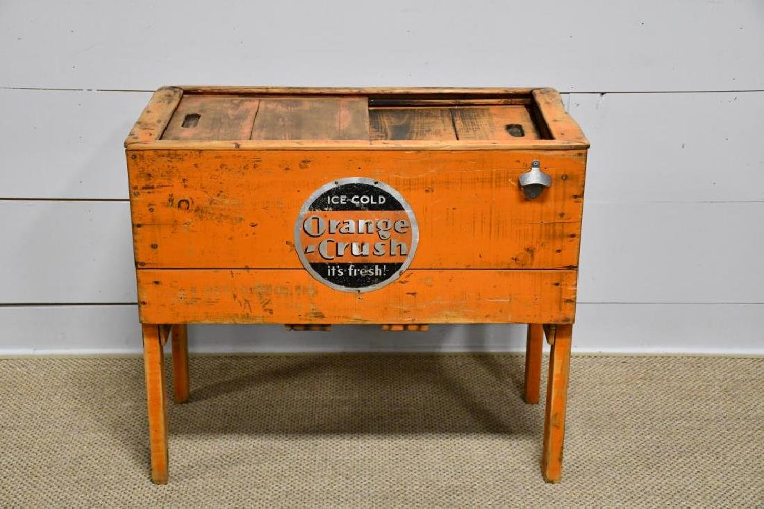 """Wooden Country Store Orange Crush Cooler 31 1/2""""H,"""