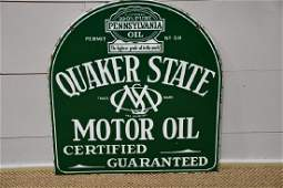 """DSP Quaker State Motor Oil Sign 29"""" x 26 1/2"""""""