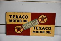 "Metal DS Texaco Motor Oil Advertising Sign 11 1/8""  x"