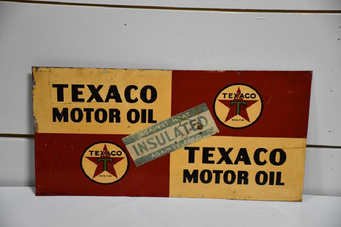 "Metal DS Texaco Motor Oil Advertising Sign 11 1/8""  x"