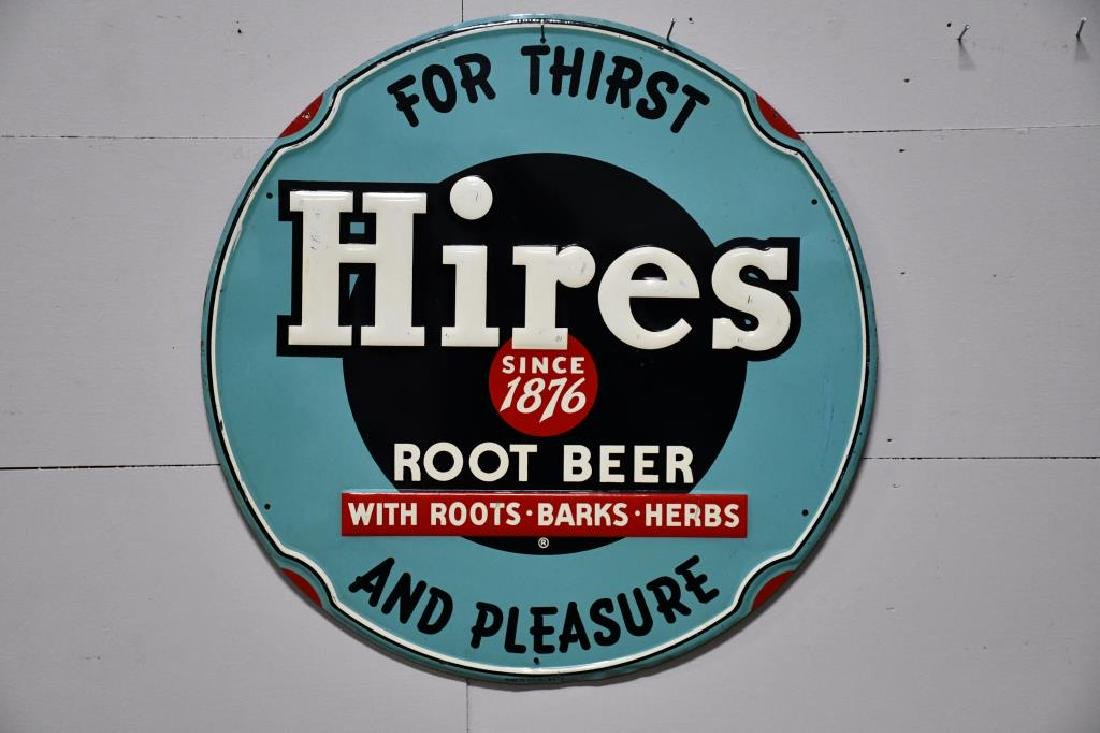 "Metal Hires Root beer Sign 23 1/2"" diam."