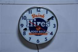 Lighted Hires Root beer Advertising Clock Works 14