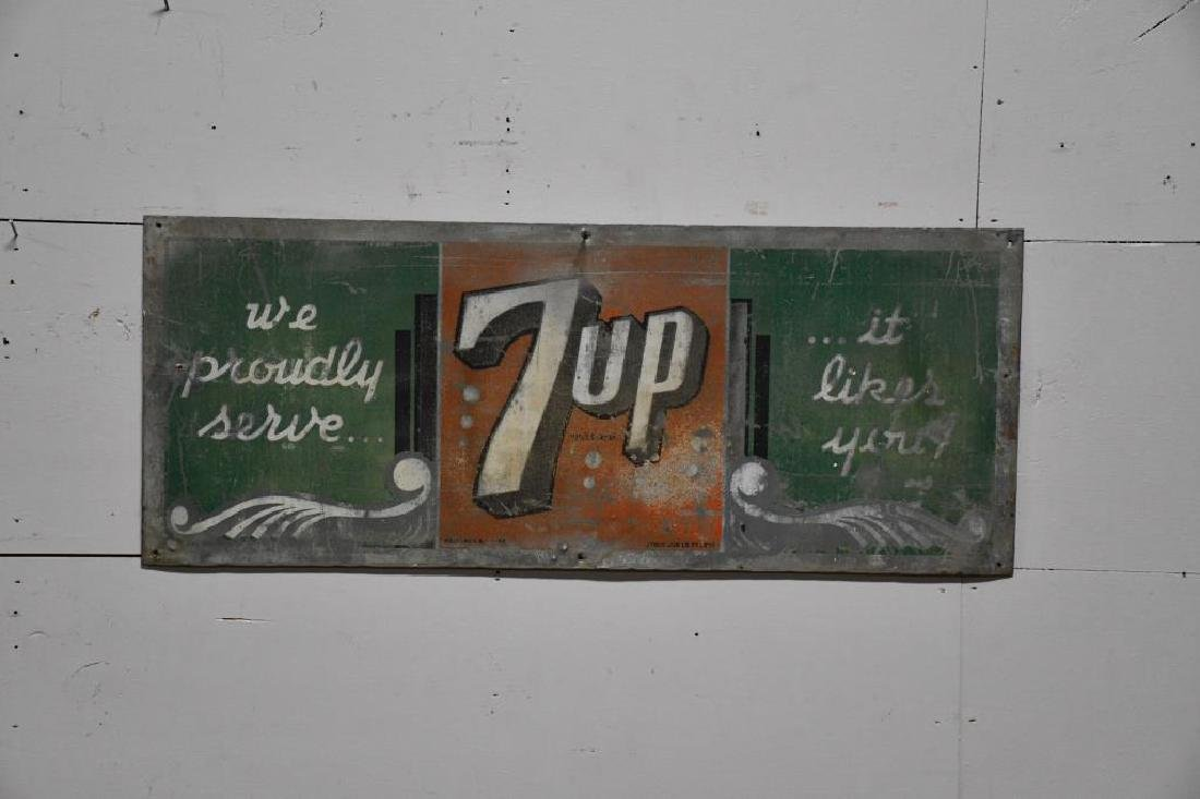 "Metal 7-Up Advertising Sign 12""  x   30 1/8"""