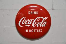 """Porcelain Coca-Cola Button Sign """"Drink in Bottles"""" 24"""""""