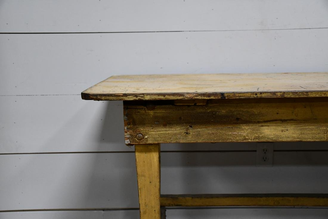 "Early Work Table in Old Mustard Paint 32 1/2""H, - 3"