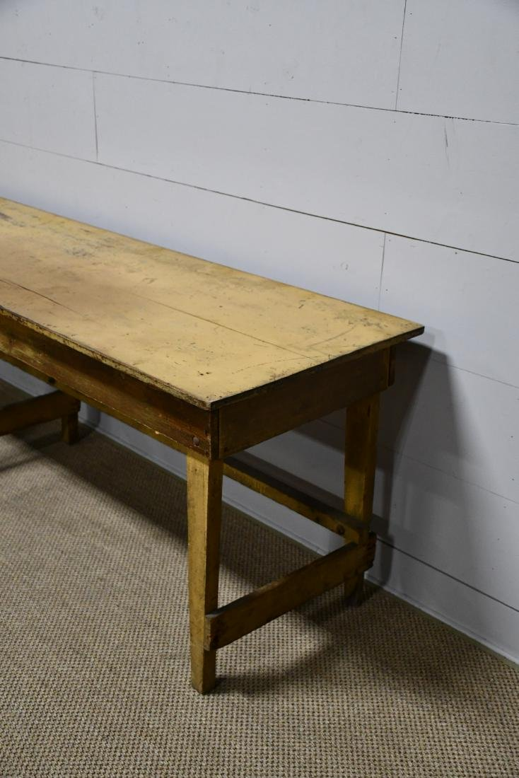 "Early Work Table in Old Mustard Paint 32 1/2""H, - 4"