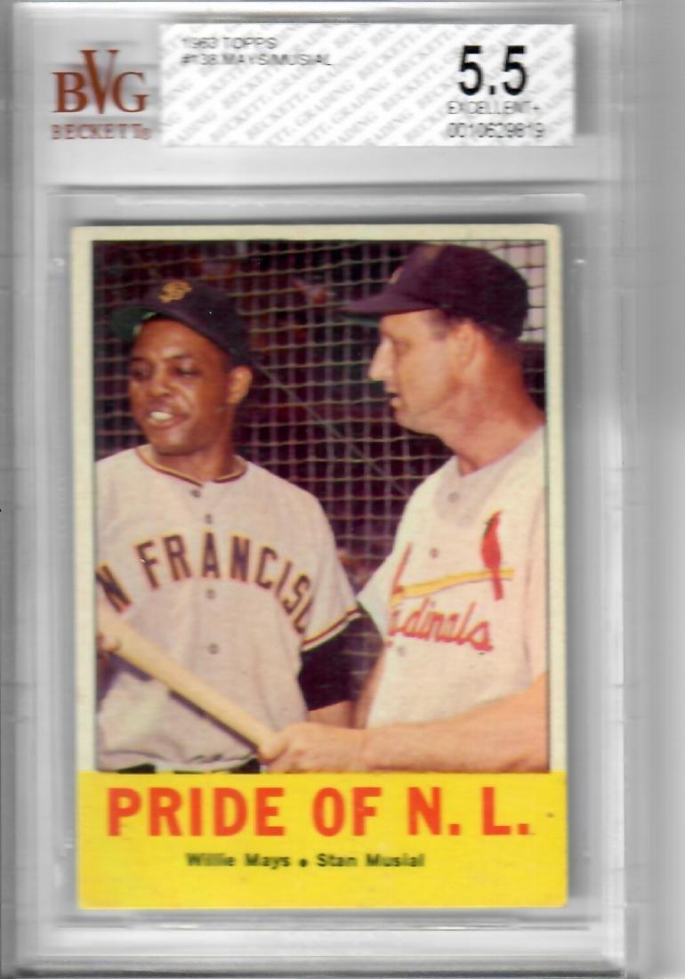1963 TOPPS Mays/Musial Baseball Card
