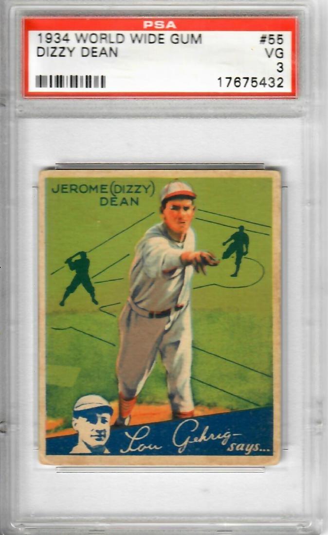 1934 World Wide Gum Dizzy Dean Baseball Card