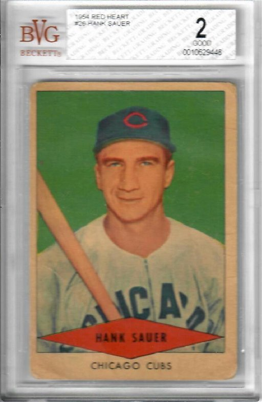 1954 Red Heart Hank Sauer Baseball Card