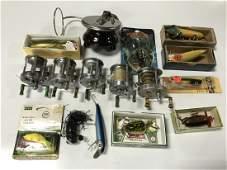 Group Lot Vintage Fishing Lures  Reels