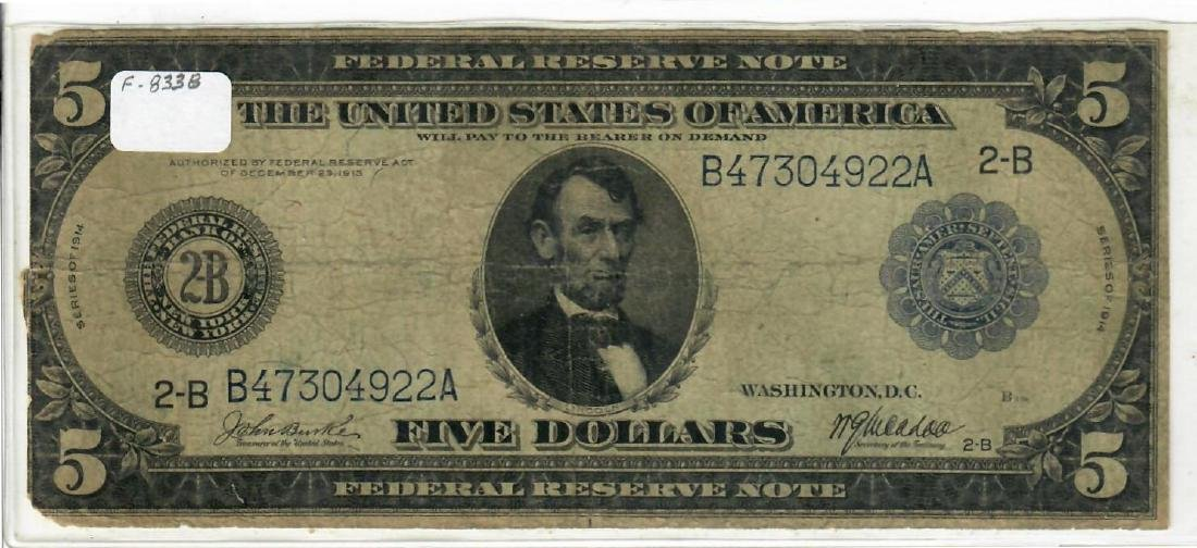 $5  1914  Federal Reserve Note The Federal Reserve Bank