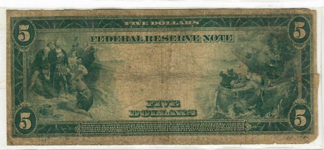 $5  1914  Federal Reserve Note The Federal Reserve Bank - 2