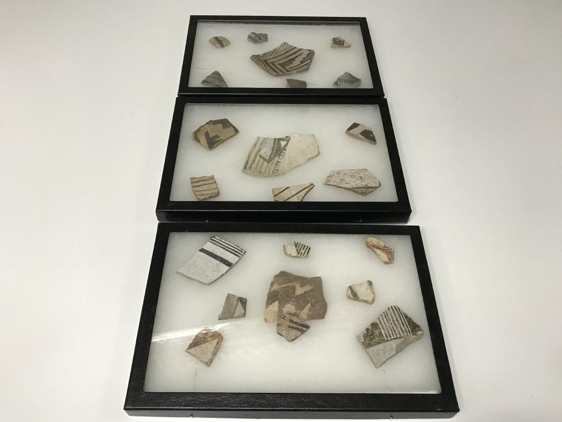 3pc Frame Lot Pre Historic Anasazi Pottery Shards