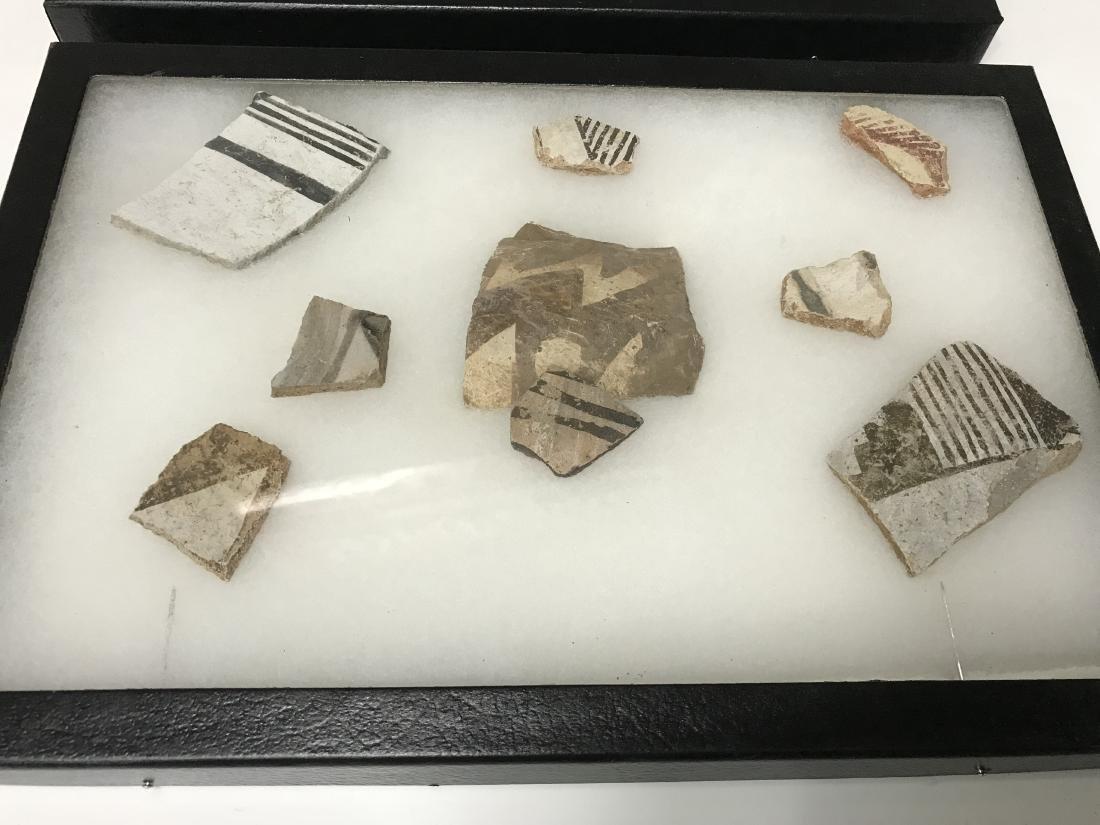 3pc Frame Lot Pre Historic Anasazi Pottery Shards - 2