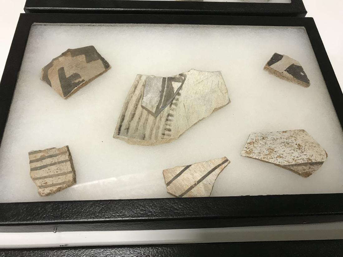 3pc Frame Lot Pre Historic Anasazi Pottery Shards - 3