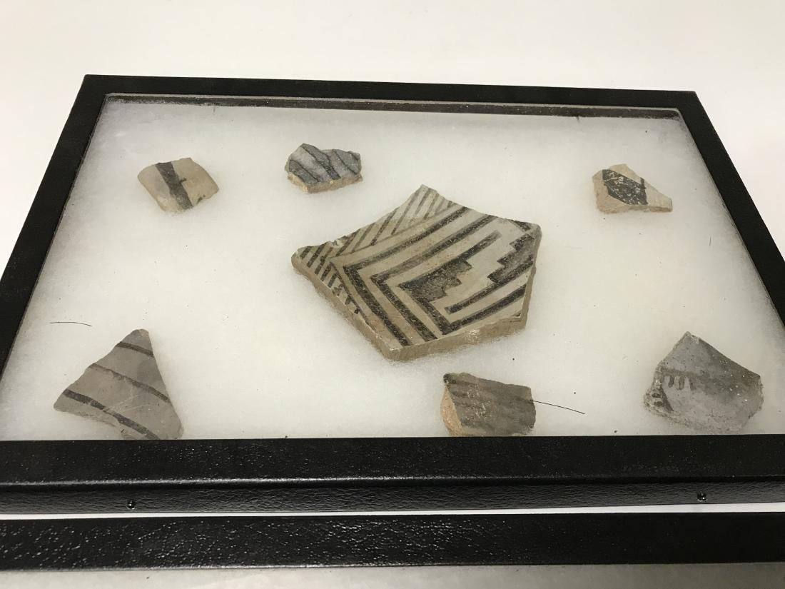3pc Frame Lot Pre Historic Anasazi Pottery Shards - 4