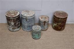 5-Piece Painted Galvanized Storage Tin Lot (biggest)  -