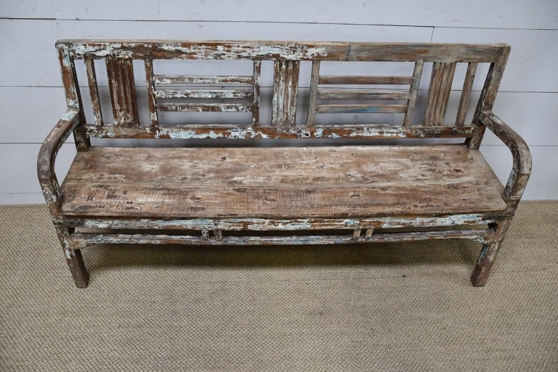 "Painted Wooden Store Bench 36""H,   68""L,   17""W"