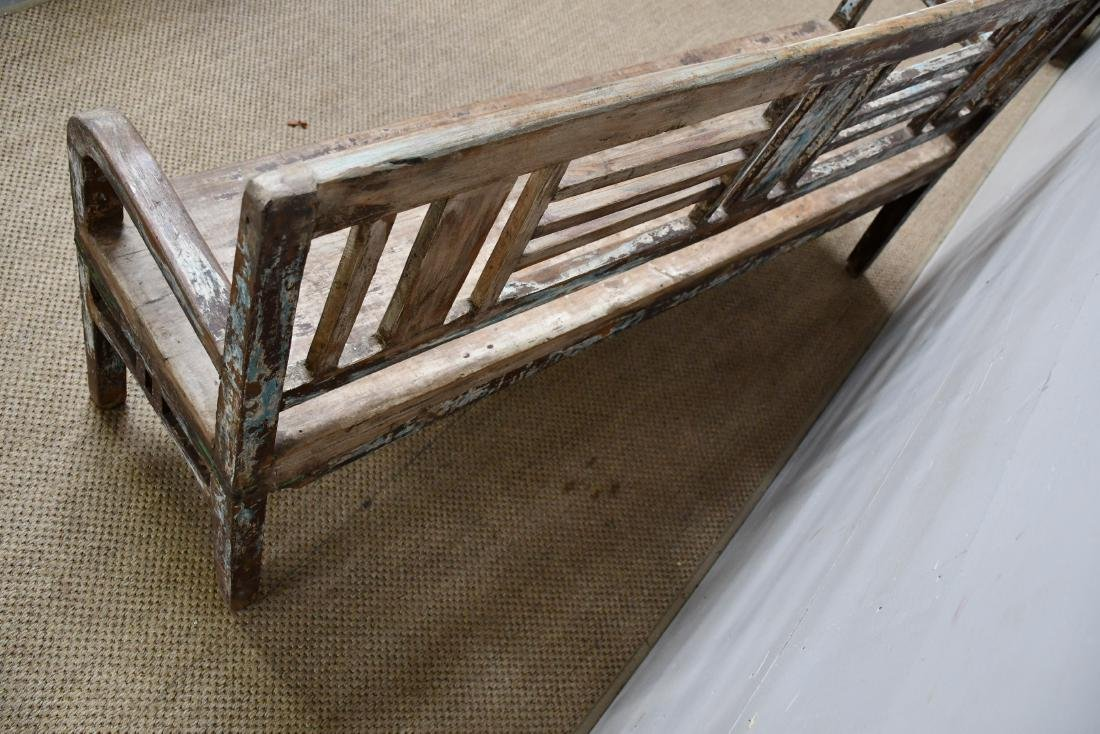"Painted Wooden Store Bench 36""H,   68""L,   17""W - 2"