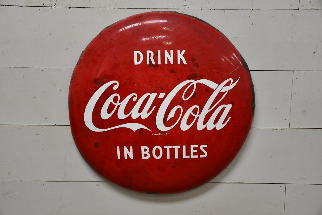 "Porcelain Coca-Cola Button Sign 36"" diam."
