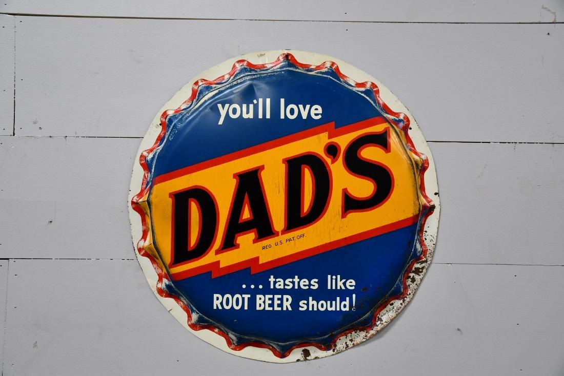 """Metal Dad's Root beer Sign 29"""" diam."""