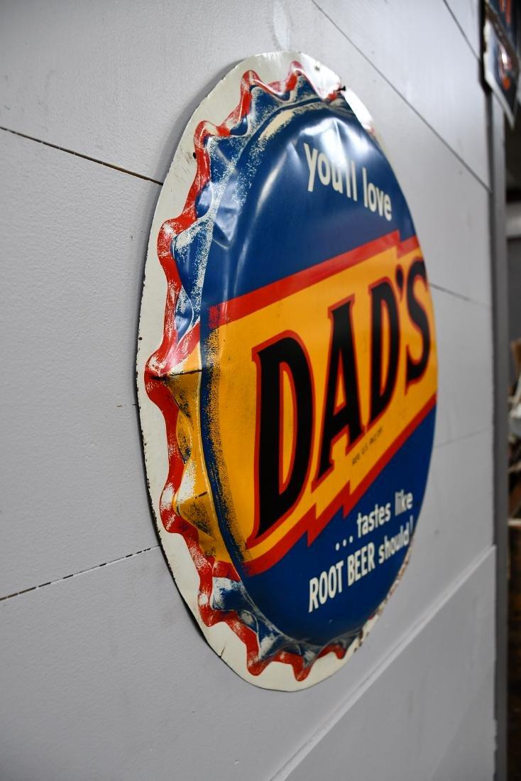 """Metal Dad's Root beer Sign 29"""" diam. - 2"""