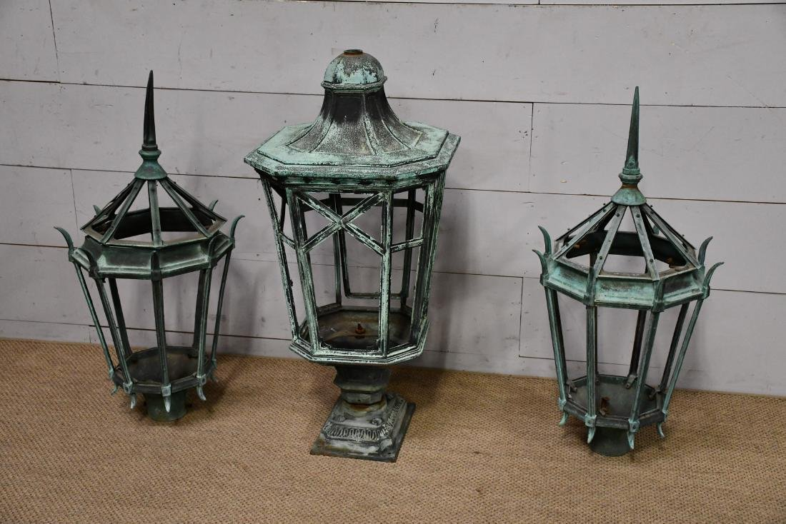 "3pc. Lot of Copper Street Lights 44 1/2""H,   21 1/2""  x"