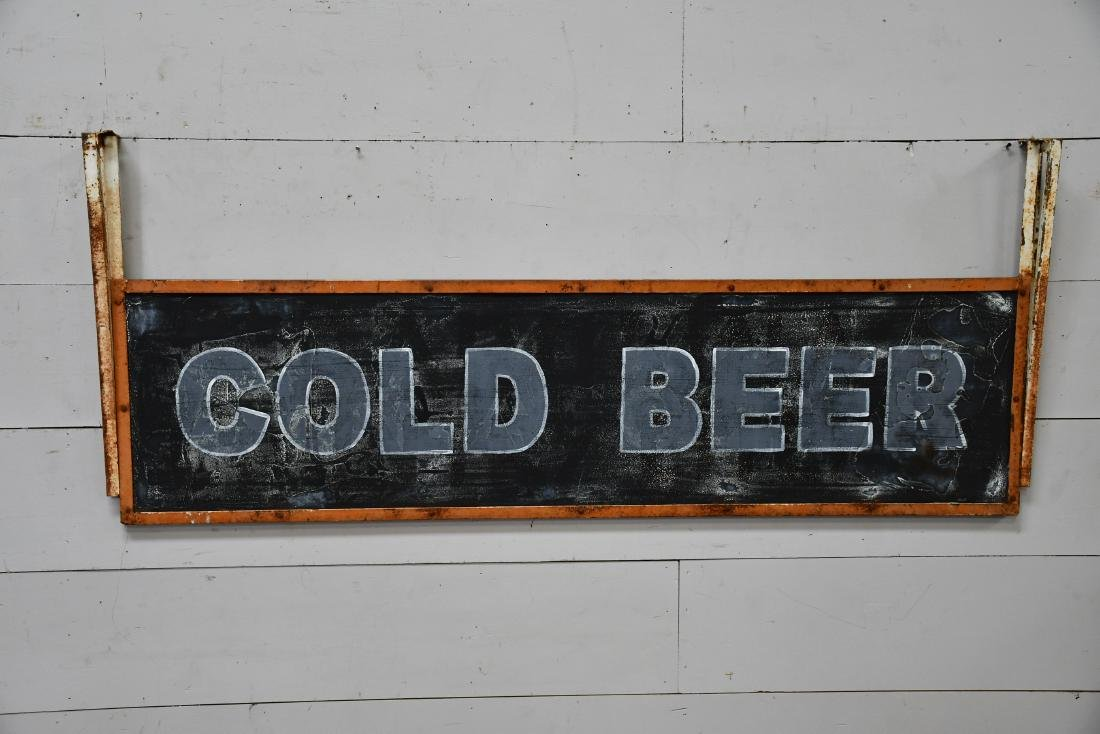 "Cold Beer Sign metal,  double sided 30 1/2""  x   74"
