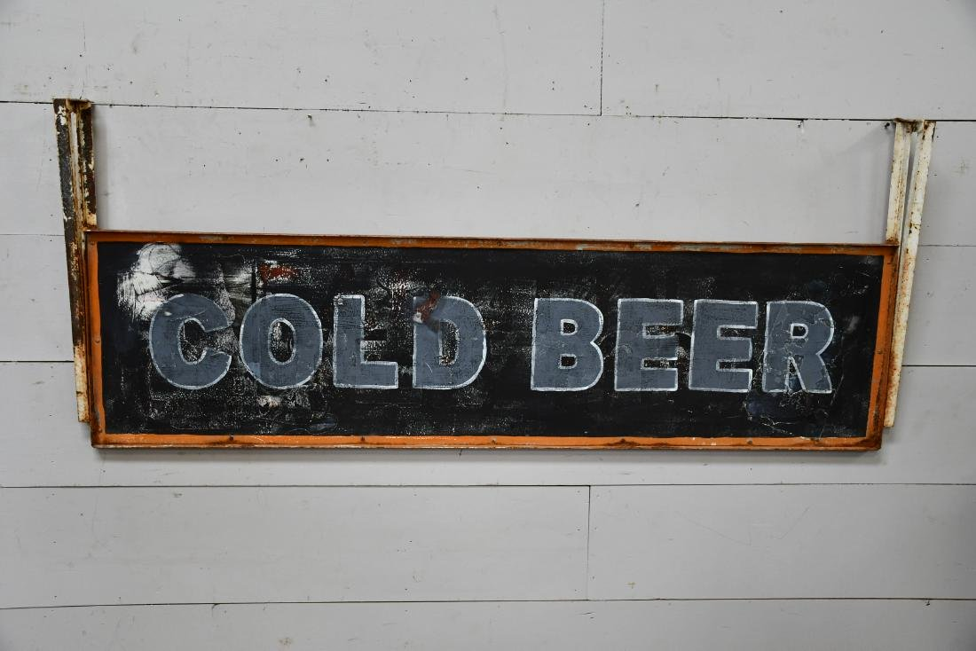 "Cold Beer Sign metal,  double sided 30 1/2""  x   74 - 2"