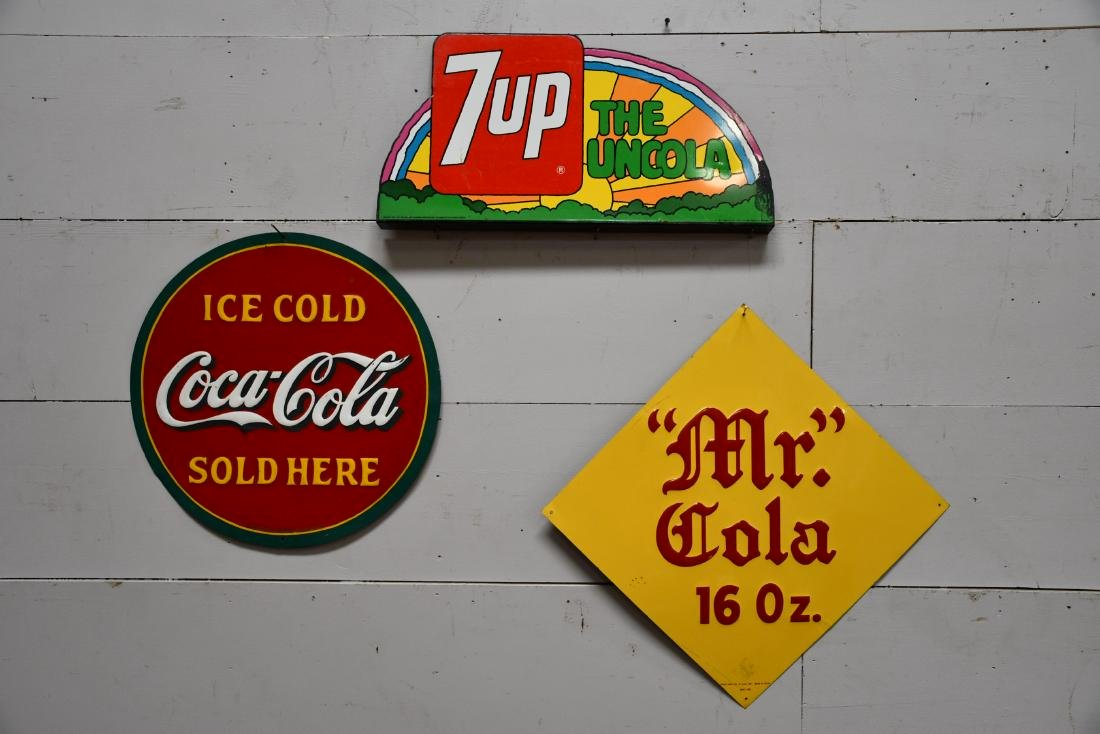 3pc. Lot of Advertising Signs Coca - Cola    /    Mr.