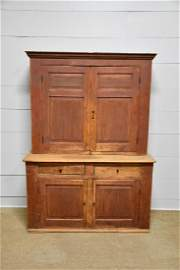 2-Piece Blind Door Pa. Cupboard in old red washed