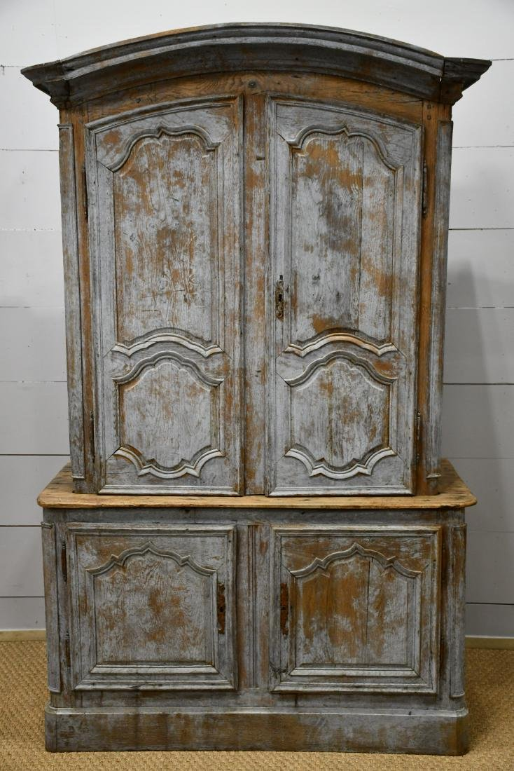 """Early 19th C. French Painted 2 Piece Cupboard 84 3/4""""H,"""